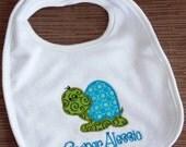 Personalized bib  Personalized Monogrammed Turtle Appliqued baby boy cotton  bib
