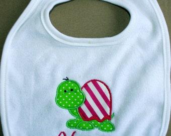 Personalized bib  Personalized Monogrammed Turtle Appliqued baby girl cotton  bib