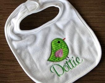 Personalized bib  Personalized Monogrammed Sweet Tweet Bird Appliqued baby cotton  bib