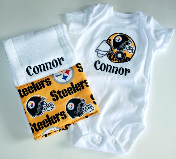Pittsburgh Steelers Personalized Helmet Appliqued baby onesie and coordinating burp cloth set ALSO available in Black and Gold Fleur De Lis