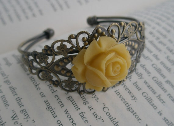 Cuff bracelet -Spring yellow cuff bracelet - Yellow rose bracelet- Romantic bracelet- Filigree- Yellow rose - Rose bracelet
