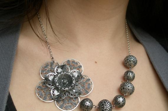 SALE Vintage style antique silver necklace- Silver bib necklace-Asymmetrical bib necklace- Silver flower necklace- Filigree necklace