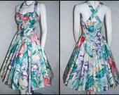 1980s Floral Dress,  Full Skirt, 1980s does 50s Halter,  Karen Alexander, Medium, Removeable Straps