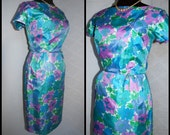 RESERVED   1960s Hawaiian Dress, Tori Richard  Bombshell Wiggle Floral Dress in a size Medium