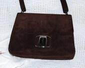 RESERVED   RESERVED  Vintage Ferragamo Handbag Purse, Brown Suede, Small Medium Sized