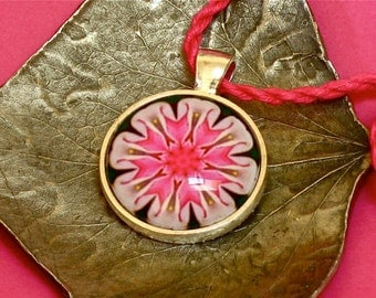 "Glass Tile Pendant, ""Origami Columbine"" original kaleidoscope design"