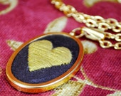 Chocolate Heart: Valentine's Embroidered Pendant