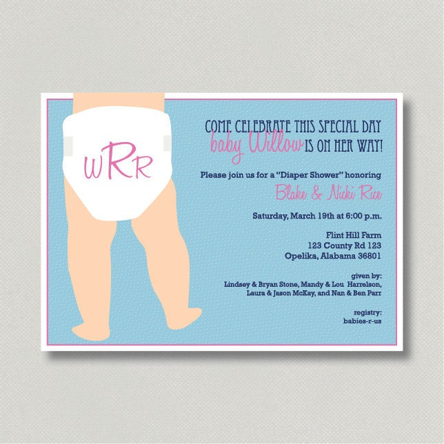 Diy Baby Shower Diaper Invitations Items similar t...