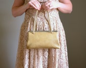 Vintage 1950s Clay Leather Handbag .. Double Compartment