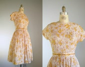 Vintage 1950s Lavender and Saffron Abstract Floral Dress .. Size Medium