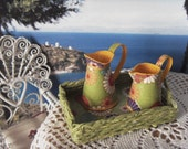 Set 3 pieces, tray and two pitchers, Mediterranean style - miniature 1:12 scale for dollhouses