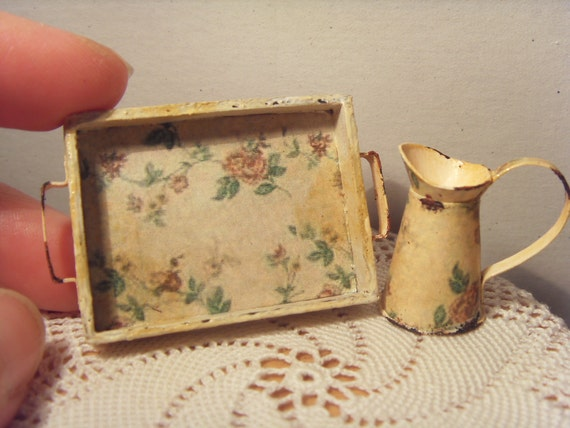 RESERVED for Melissa - SET tray and pitcher dirty and worn - miniature 1:12 scale for dollhouses