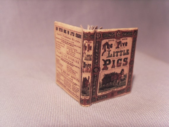 "book ""The five Little Pigs"" - miniature 1:12 scale for dollhouses"