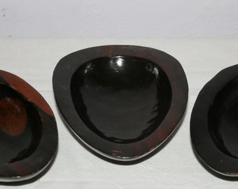Solid Wood Vintage Hand Carved Small Wooden Nut or Candy Bowls Set of Three (3)
