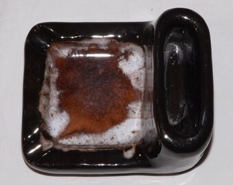 Mid Century Modern Vintage handmade Art Studio Pottery Ashtray Drip Glazed Amber Tones