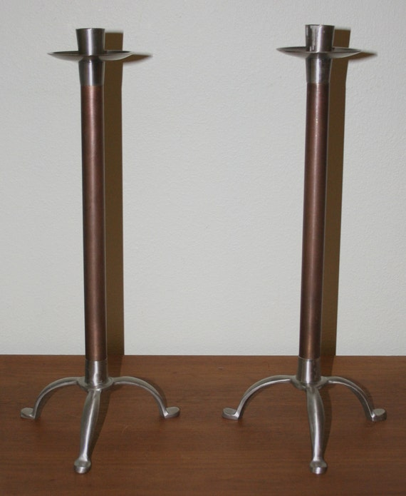 "Vintage Mid Century Modern 17"" Tall Footed Candlesticks"