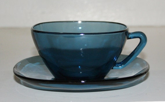 Mid Century Modern Vereco France Blue glass cup and saucer