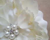 Light Cream Peony Wedding Flower Hair Clip Wedding Headband