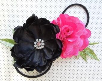Black & Hot Pink Flower Stretch Headband