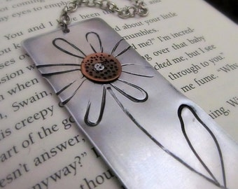 Mixed Metal Bookmark Hand Stamped Flower with Copper and Cold Connections - Read & Grow Personalized Bookmark - Hand Stamped Bookmark xmas