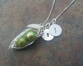 Pea Pod Silver Pendant with Initial Charms