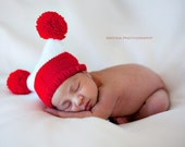 Knit newborn hat. Red and White.
