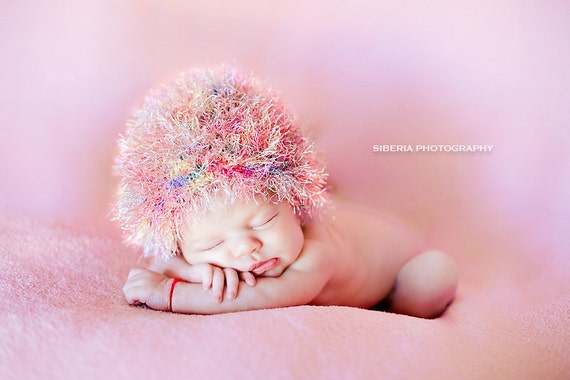 Fuzzy newborn hat.  Pink - Multicolor.