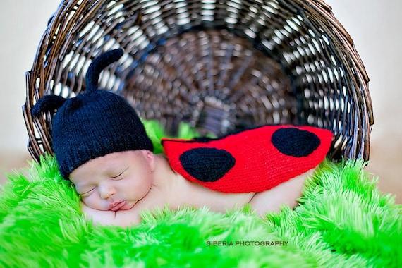 Newborn Lady Bug Knit Outfit