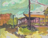 August in the kibbutz - original landscape painting, Shirley Kanyon