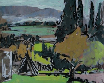Tipi at my front door - original  landscape painting, ink and gouache on paper, 37 X 28 cm ; 14.6 X 11 inch, Shirley Kanyon