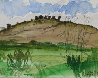 The hill - original plein air pen and watercolor landscape painting,  22 X 32 cm ; 8.7 X 12.6 inch, Shirley Kanyon