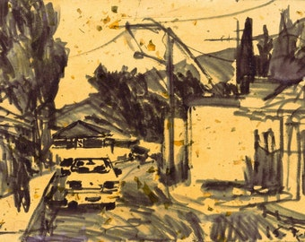A windy summer afternoon - original urban landscape drawing, ink and resin on paper, 20.5 X 30.5 cm ; 8.1 X 12 inch, Shirley Kanyon
