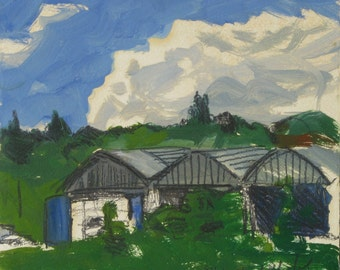 The farm on a green blue day - original plein air landscape painting, egg tempera on paper, 23 X 29 cm ; 9.1 X 11.4 inch, Shirley Kanyon