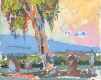 Eucalyptus at sunrise - original landscape painting, oil on panel, 24 X 28 x 1 cm ; 9.4 X 11 x 0.4 inch, Shirley Kanyon