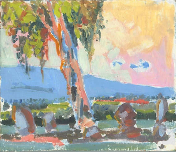 Eucalyptus at sunrise - original landscape painting, oil on panel, 24 X 28 x 1 cm ; 9.4 X 11 x 0.4 inch, Shirley Kanyon