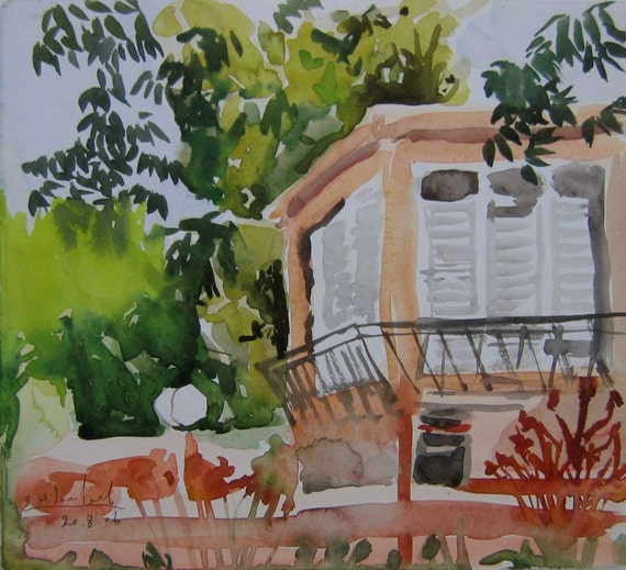 Sitting under the nut tree - original watercolor landscape painting, 25 X 27.5 cm ; 9.8 x 10.8 inch, Shirley Kanyon