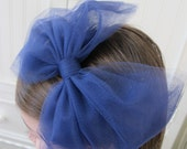 navy blue tulle bow headband
