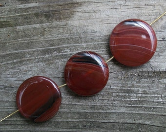 Red Stripe Agate flat coin pendant or focal beads- 25mm- (3 pieces)-RAGRnd-4D3
