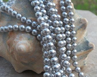 A Grade Silver South Sea Shell Pearl--6 mm round--(full strand)