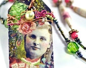 Blossom Miniature Wearable Art Collage Tag Necklace - loriwilkes
