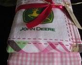 PREMIUM 6 ply burp cloth diapers girl john deere, pink check , stripes