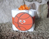 Basketball Mini diaper cake (orange and brown ) decoration, baby shower or new baby gift.