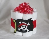 Mini diaper cake Pirate flag, great decoration, baby shower or new baby gift.