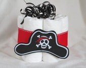 Mini diaper cake Pirate hat, great decoration, baby shower or new baby gift.