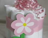 Mini diaper cake flower, great decoration, baby shower or new baby gift.