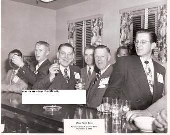 Move Over Boys - Vintage Black and White Photograph of Men Knocking Back Some Highballs at 1950 Company Party