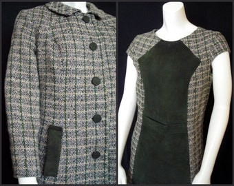 Vintage 60s Green Tweedy Plaid with Suede Sheath and Coat Ensemble - That Girl Classic Sassiness