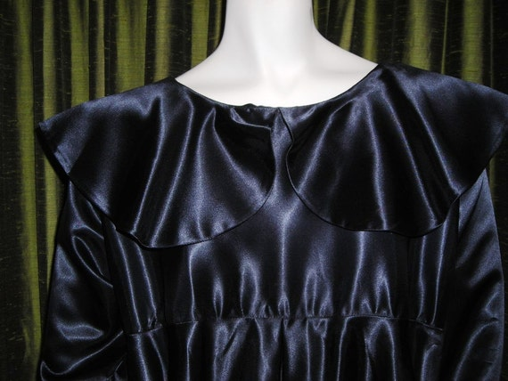 Bewitching Vintage Annette Marie Juilly Black Satin Babydoll Dress - Which Witch