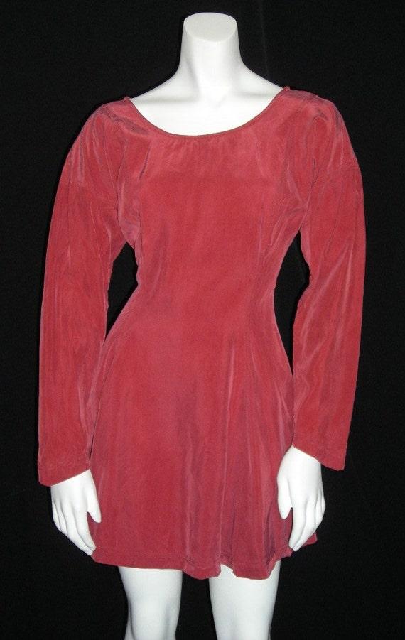 Vintage Betsey Johnson Luxe Mini Dress or Tunic - Long-sleeved Burnt Orange Sandwashed Silky - Dress So Hot the Orange Burnt