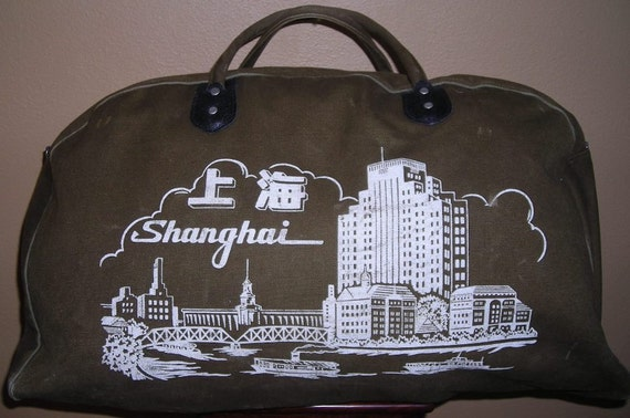 Vintage Canvas Duffel Bag - Large Army Green Carry-on with 70s Shanghai Images - Super Cool 70s Shanghai
